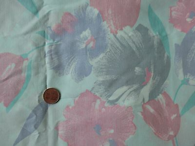 FLORIDA Vintage BLUE PINK FLOWERS On PALE GREEN 1970's COTTON Fabric-shy 3 yd
