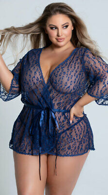 One Size Fits Most Queen Womens Plus Size Blue Leopard Lace Robe Set