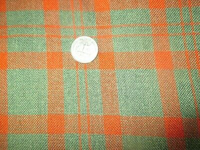 BUSINESS SUIT Vintage RED GREEN PLAID 1960's Heavy COTTON Fabric -shy 3 yd