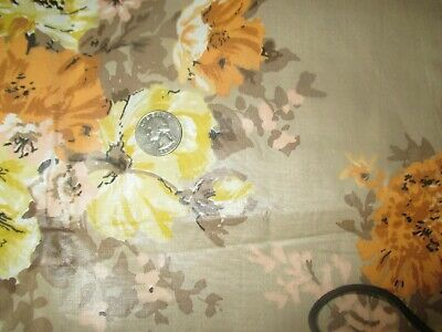 Vintage YELLOW ORANGE FLOWERS ON BEIGE 1970's Polished COTTON Fabric-shy 3 yd