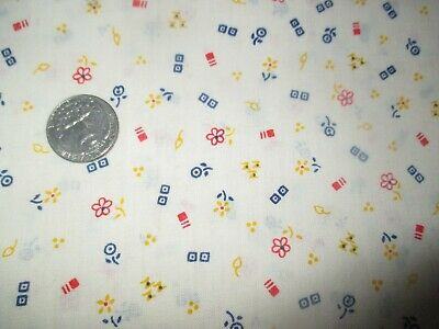 DAINTY Vintage RED BLUE YELLOW FLOWERS On WHITE 1970's COTTON Fabric-over 1 yd