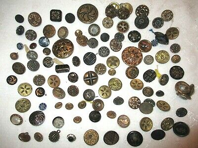 100 OLD 1800's VICTORIAN Antique METAL BRASS & GLASS Clothing BUTTONS