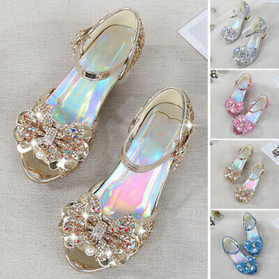 Glitter Sandals Shoes Toddler Wedding Princess Bowknot High Heel Party New