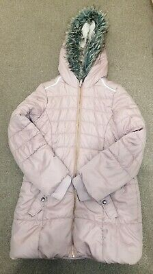 Girls pink padded Puffa winter long school Coat faux fur hood Age 11-12 Years