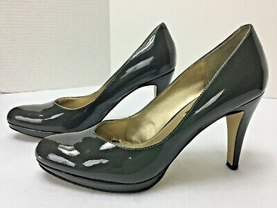 Nine West Womens Size 7.5 M Alybao Gray Patent Platform High Heel Pumps Shoes