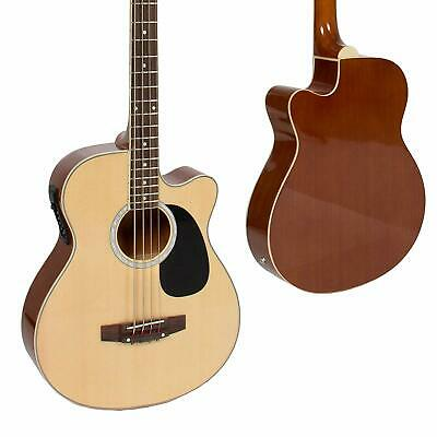 4 String Electric Fretted Acoustic Bass Guitar Natural Solid Wood With Equalizer
