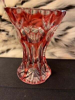 """Moser Art Deco cranberry To Clear crystal cut glass vase - Bohemian - antique 5"""""""