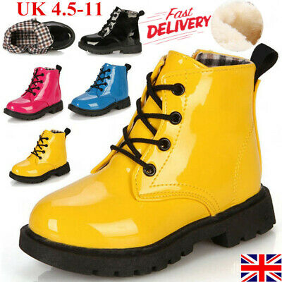 Kids Boys Girls Winter Warm Lace-Up Fur Lined Ankle Snow Boots Martin Shoes Size