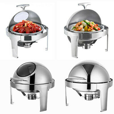 Stainless Steel Chafing Round Roll Top Buffet Chafer Dish w/ Pan and Fuel Holder