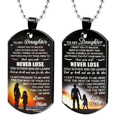 Classic Women Men To My Daughter Stainless Steel Love Dad Mom Necklace AdtN