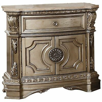 Marble Top Nightstand With One Drawer And Two Door Shelf, Antique Champagne