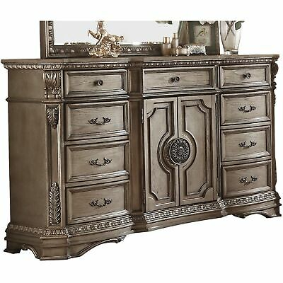 Marble Top Dresser With Nine Drawers And Two Door Shelf, Antique Champagne