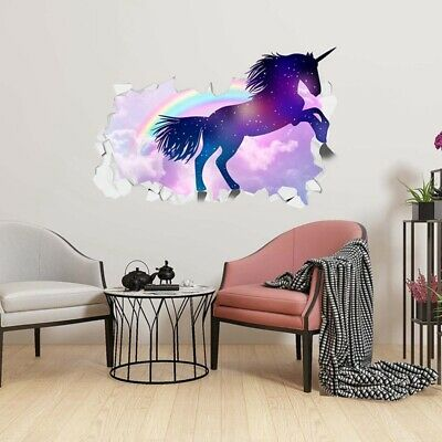 Girls Kids Room Bedroom Beautiful Unicorns 3D Animal Art Wall Decor AdtN