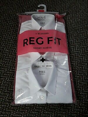 Marks And Spencer, Girls School Blouse, 9-10 Years, White, 3 pack