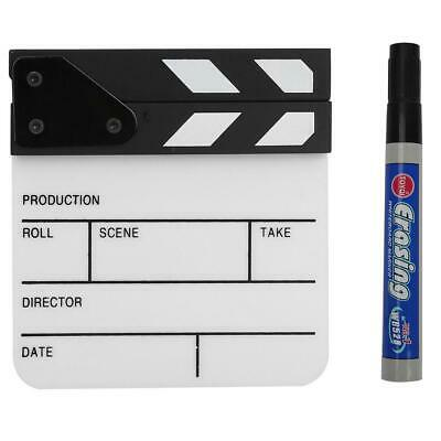 Acrylic Director Scene Clapperboard TV Movie Action White Board Film Cut Prop