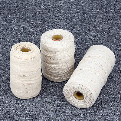 200m 400m Natural Beige Cotton Twisted Cord Craft Macrame Rope Artisan String