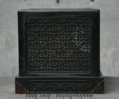 "8"" Rare Old Chinese Black Wood Hand-Carved Dynasty Palace Seal Stamp Box"