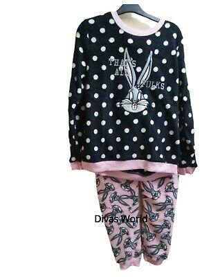 Looney Tunes Women's Pyjama Set Disney Bugs Bunny Cosy Fleece Nightwear Primark