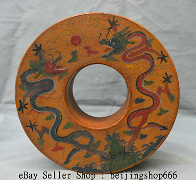 """9.6"""" Qianlong Marked Old China Lacquerware Painting Dynasty Dragon Jewelry Box"""