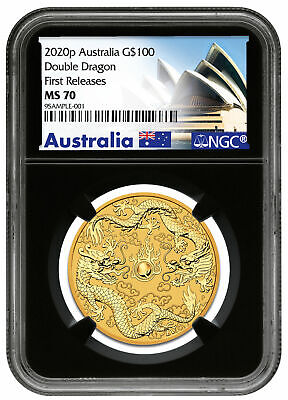 2020-P Australia 1oz Gold Double Dragon $100 NGC MS70 FR Black Core SKU60404