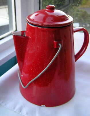 Vintage Red Enamel Coffee Pot 4 Pint Kitchenalia With Carrying Handle Kettle