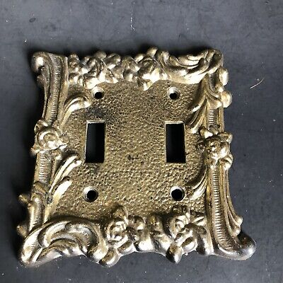 Switch Plate Cover Hollywood Regency Double Vintage Metal Gold Glam Light Switch