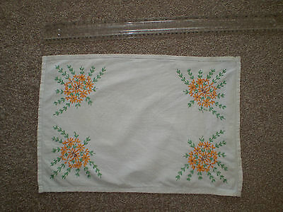 Antique Beige Linen Tray Cloth/Small Table Cloth Hand Embroidered Floral Pattern