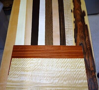 Real Wood Veneer 12 X Long Sheets, Exotic Selection For Marquetry Restoration.
