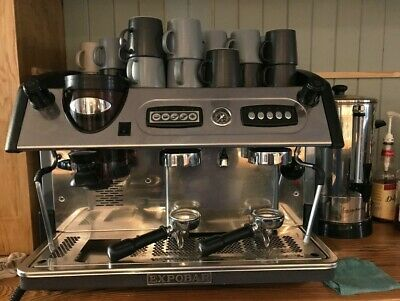 Expobar commercial 2 group coffee machine, plus grinder, scales & accessories