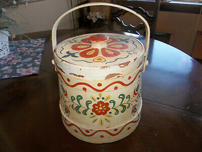 Vintage Hand Painted Round Wooden Sewing Box with Lid - 8 inches tall