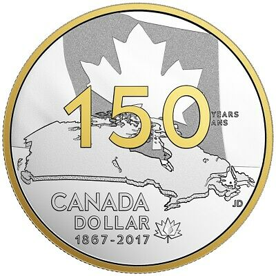 2017 Canada 150Th $1 Gold Plated  Proof 99.99% Silver Dollar Coin