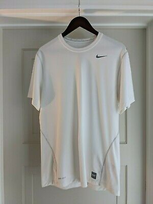 Men's Nike Pro Combat Dri-Fit All White Active Workout Gym Shirt L Fitted