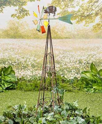 💢 4FT Rooster Weather Vane Windmill  Wind Spinner Garden Yard .