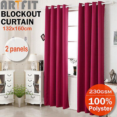 2X Blockout Curtains Thermal Blackout Curtains Eyelet Pure Fabric Pair Red