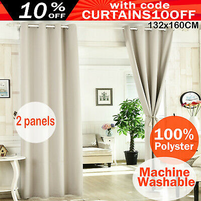 2X Blockout Curtains Thermal Blackout Curtains Eyelet Red Pure Fabric Pair
