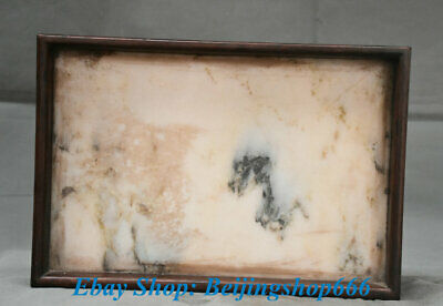 """13"""" Old Chinese Dynasty Palace Huanghuali Wood Marble Carving plate tray dish"""