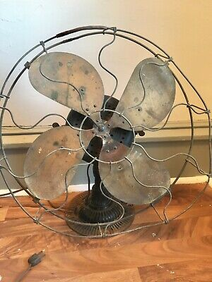 "Antique Vtg 16"" Emerson Rib Cast Iron Base Electric Fan BRASS BLADES & CAGE"
