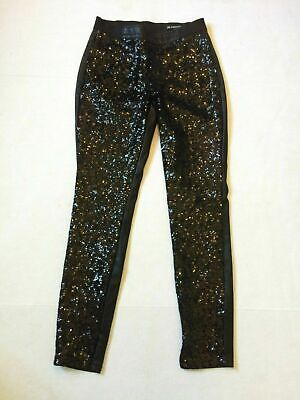 Blanknyc Ankle Zip Skinny Faux Leather Sequin Pants Woman Size 27 X 28 Black