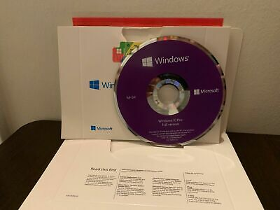 Microsoft Windows 10  Professional pro 64 bit coa(product key) + DVD