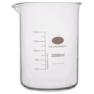 Academy Low Form Glass Beaker Heavy Wall 2000ml Pack of 4