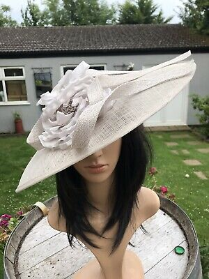 PETER BETTLEY PALE SILVER WEDDING  DISC HATINATOR Mother Of The Bride Hat