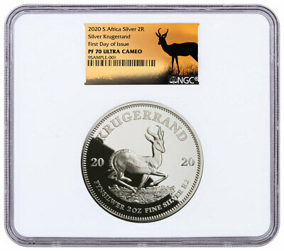 2020 South Africa 2oz Silver Krugerrand Proof NGC PF70 UC FDI Springbok SKU60154