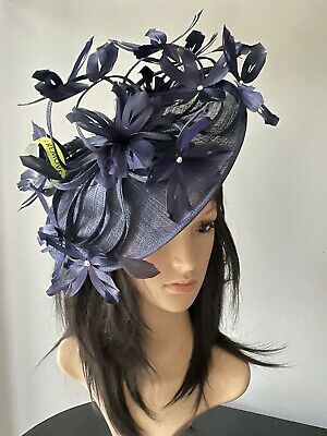 PETER BETTLEY NAVY BLUE WEDDING  DISC FASCINATOR Mother Of The Bride Hat