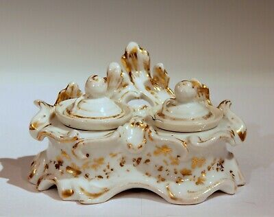 Antique Old Paris French Porcelain Inkwell Gilt Cups & Covers Intact
