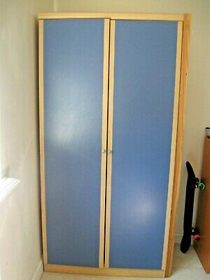Mid blue/teak col. pre-assembled wardrobe ( 2 available) Hygena + instructions