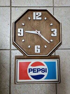 Vintage 1990s Pepsi Advertising Faux Wood Wall Electric Clock