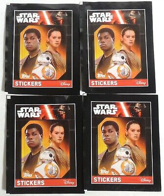 ESAR3031. Lot of 4: STAR WARS The Force Awakens 5 Pack Stickers by Topps (2016)