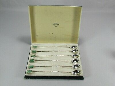 Gorgeous Antique Chinese Pure Silver & Jade Stone Long Spoons in Box by Wai Kee