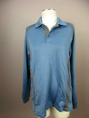 Under Armour Size M Mens Blue Black Cold Gear Athletic Polo Jersey Shirt 728