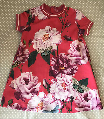New Ted Baker Girls Pink Floral Iguazu Sporty Dress Size 2-3 Years